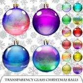 Set of transparent Christmas balls — Stock Vector