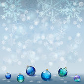 Christmas background with snowflakes and Christmas balls — Stock Vector
