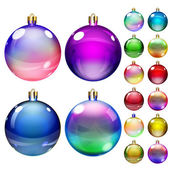 Set of opaque colored Christmas balls — Stock Vector