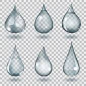 Transparent gray drops — Stock Vector