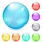 Multicolored opaque glass spheres — Stock Vector