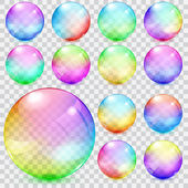 Colorful transparent glass spheres — Stock vektor