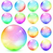 Colorful opaque glass spheres — Stock Vector