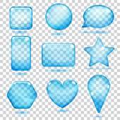 Formas de vidro transparente azul — Vetor de Stock