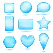 Opaque blue glass shapes — Stock Vector