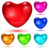 Set of opaque glossy hearts — Stock Vector