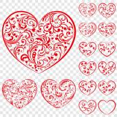 Set of red hearts made of curls — Stock Vector