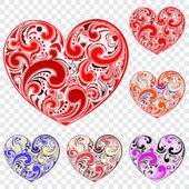 Set of hearts made of curls — Vector de stock