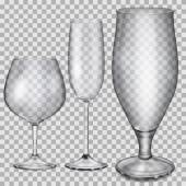 Transparent empty glass goblets for cognac, champagne and beer — Stock Vector