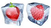 Ice cubes with strawberry and raspberry — Stock Vector