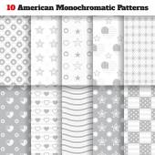 Set of monochromatic American seamless patterns — Stock Vector