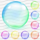 Multicolored transparent glass spheres — Stock Vector