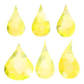 Abstract yellow drops consisting of triangles — Stock Vector
