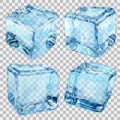 Transparent blue ice cubes — Stock Vector