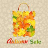 Sale bag of autumn leaves — Stock Vector