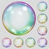 Set of multicolored transparent soap bubbles — Stock Vector