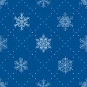 Seamless pattern of snowflakes, light blue on blue — Stock Vector