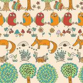 Modèle sans couture avec les oiseaux et les hérissons — Vecteur