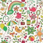 Cute doodle seamless pattern — ストックベクタ