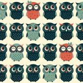 Cute colorful seamless pattern with owls — Stock Vector