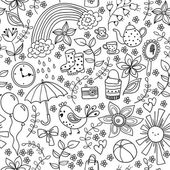 Cute doodle seamless pattern — Stock Vector
