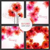 Flores rojas — Vector de stock