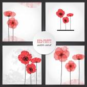 Set of 4 cards with Poppies — Stock Vector