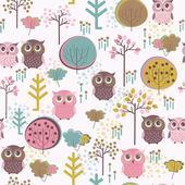 Pattern with owls and trees — Stock Vector