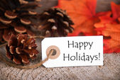 Autumn Label with Happy Holidays — Stock Photo