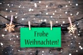 Label with Frohe Weihnachten, Snowy Background — Stock Photo
