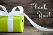 Green Present with Thank You Text — Stock Photo