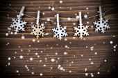 Snowflakes on a Line in the Snow — Stock Photo