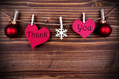 Thank You on Two Heart on a Line — Stock Photo