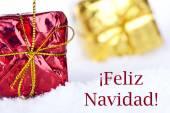 Feliz Navidad in the Snow with Gifts — Stock Photo
