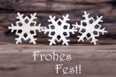 Snowflakes with Frohes Fest — Stock Photo