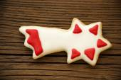 Falling Star Cookie on Wood II — Stock Photo