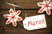 Christmas Star Cookies with Merci — Stock Photo