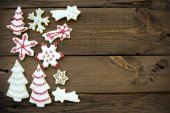Wooden Background with Christmas Cookies and Copy Space — Stock Photo