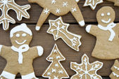 Closeup of Gingerbread Cookies on Wood — Stock Photo