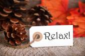 Autumn Label with Relax on it — Stock Photo
