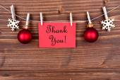 Thank You Label on a Line, Winter Background — Stock Photo