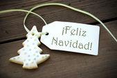 Kerstmis label met feliz navidad — Stockfoto