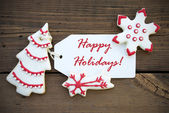 Red White Winter Background with Happy Holiday Greetings — Stock Photo