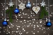 Winter Decorated Christmas Background with Snow — Stock Photo