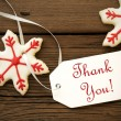 Christmas Star Cookies with Thank You Label — Stock Photo #52807875