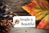 Autumn Label with Simple is Beautiful — Stock Photo