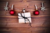 Christmas Gift and Decoration on a Line — Stock Photo