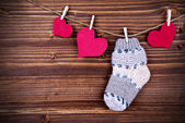 Baby Stockings with Heart on a Line — Stock Photo