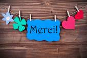 Blue Merci Banner with different Symblos on a Line — Stock Photo