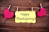 Happy Thanksgiving on a Yellow Tag — Stock Photo